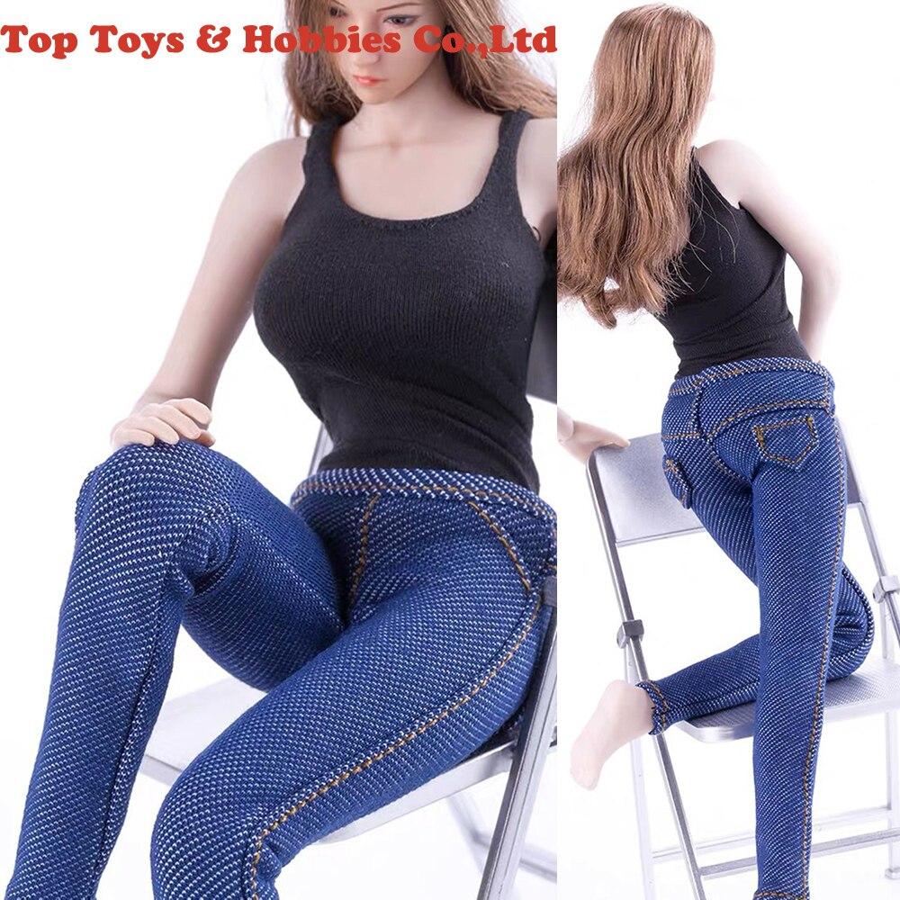 Personalizado CJG-W021 1/6 escala feminino preto colete azul soldado calças de brim das mulheres/saia roupas conjunto apto para 12 polegadas ph figura do corpo da boneca