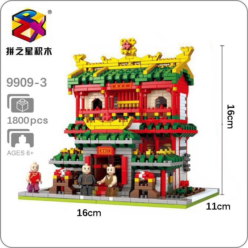 La arquitectura antigua escuela de Kung Fu DIY modelo 3D 1800 Uds Mini edificio de diamantes bloques pequeños de juguete para niños sin caja
