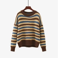 saleqi autumn new o neck pullover women sweater 2021 striped panelled jumpers female knitwear chic soft casual pull femme