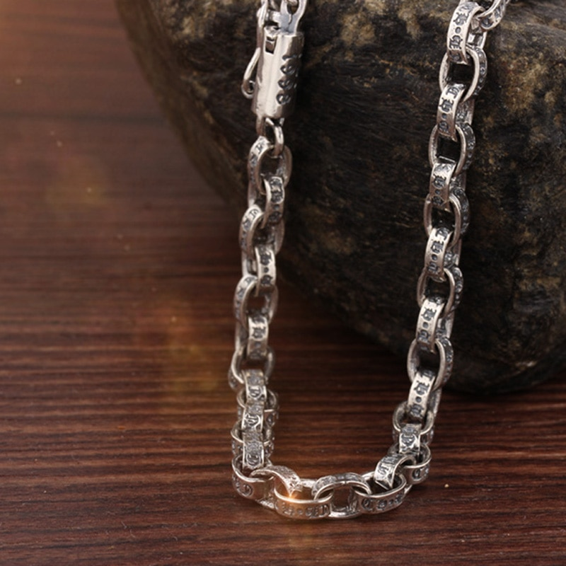 OEKDFN 100% 925 Sterling Silver Necklace Men Brand Retro Silver Link Chain Necklaces Width 4.5mm/5mm Mens Vintage Gothic Jewelry