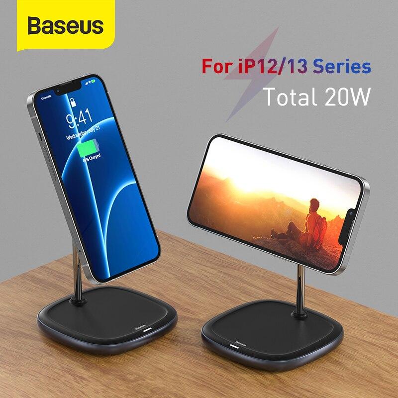 Baseus المغناطيسي 2 في 1 سطح المكتب شاحن لاسلكي آيفون 12 13 سلسلة سطح المكتب حامل حامل حامل هاتف 10 واط شاحن لاسلكي