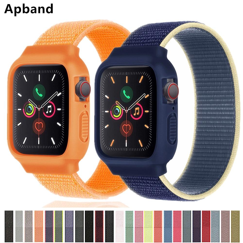 Case+strap For Apple watch band 44mm 40mm iWatch band 42mm 38mm Nylon Sport Loop bracelet apple watc