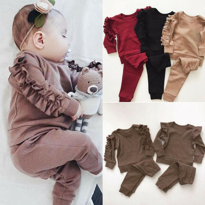 Ensemble de vêtements pour nouveau-né à manches longues, garçons et filles, décor sweat-shirt + pantalon à volants, vêtements de chute pour enfants, 3 couleurs