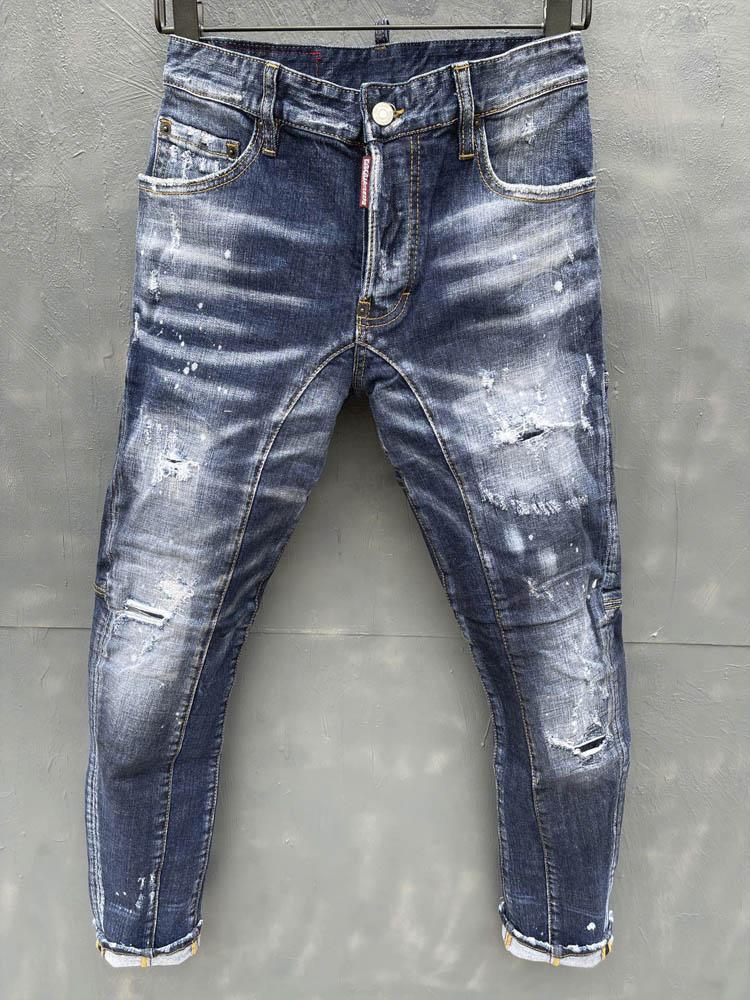 2021 новые Брендовые мужские модные облегающие джинсы, байкерские повседневные джинсы, прямые мотоциклетные джинсы, мужские потертые джинсо...