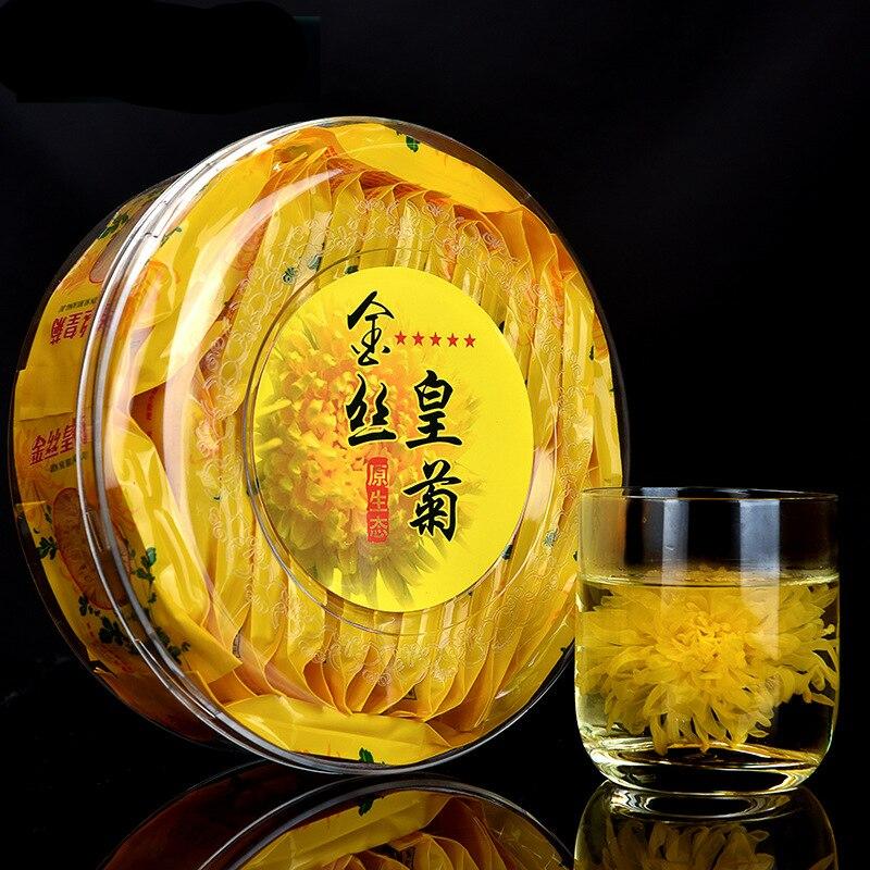 Una caja de té de flores, té de Chrysanthemum, oro, seda real, Super Premium, hojas de té de Chrysanthemum Tongxiang, comida saludable para fuego, 30 bolsa/caja