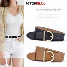 HITONBULL Women Real Leather Belt Fashion Ladies Thin Belts Luxury Brand Girdle High Quality Female
