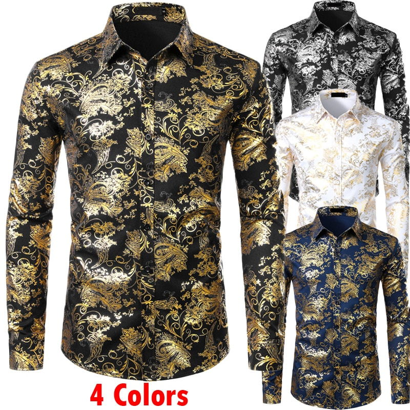 Hombre Floral dorado Camisas brillante Slim Fit camisa bronceado boda Club etapa baile camisa hombre Chemise Homme Camisas Masculina XXL