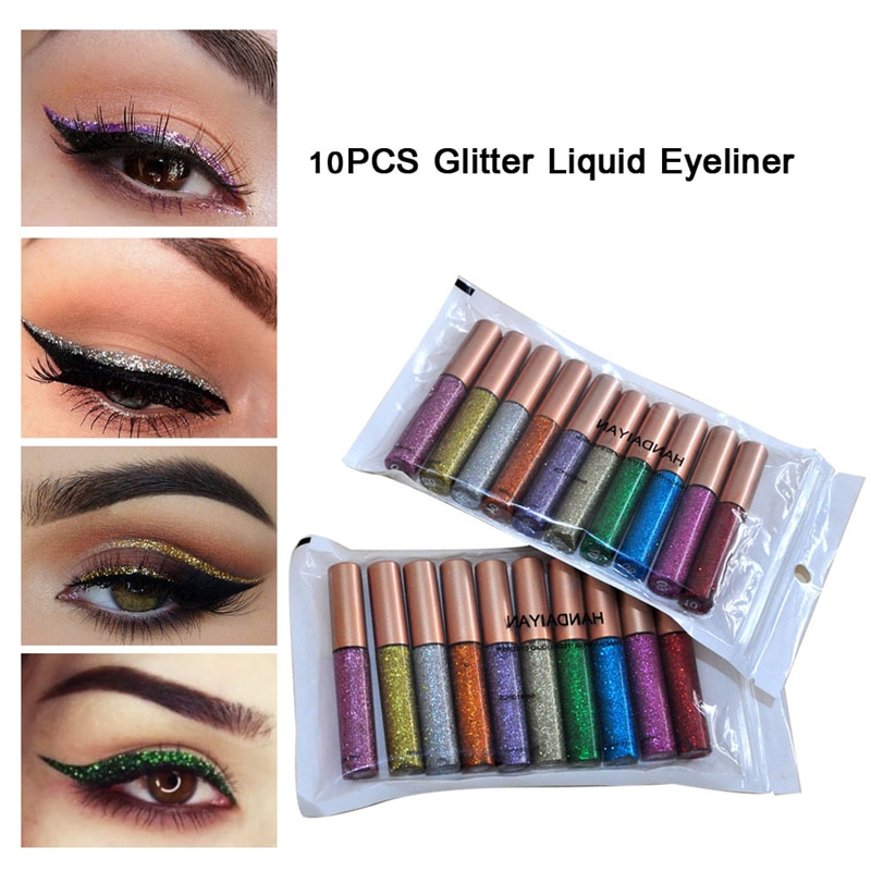 HANDAIYAN 10Pcs/set  Colorful Shimmer Eyeliner Makeup Cosmetics Shining Glitter Liquid Long Lasting Pencils
