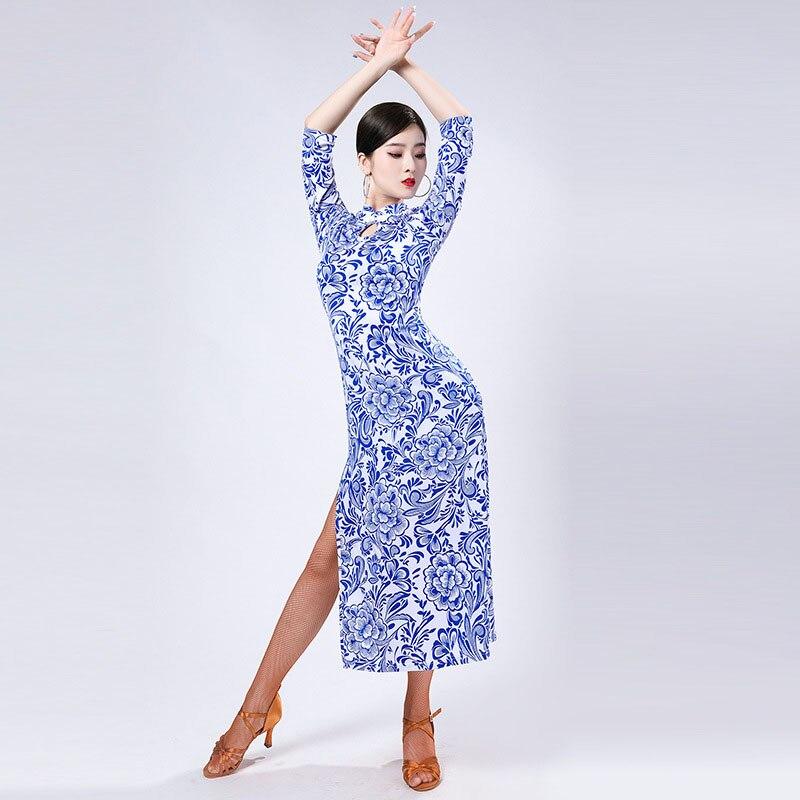 فستان قاعة الرقص النسائي المثير المطبوع طويل الاكمام ملابس الرقص اللاتينية ملابس الرقص فستان التانغو الحديث ملابس الرقص الحديثة