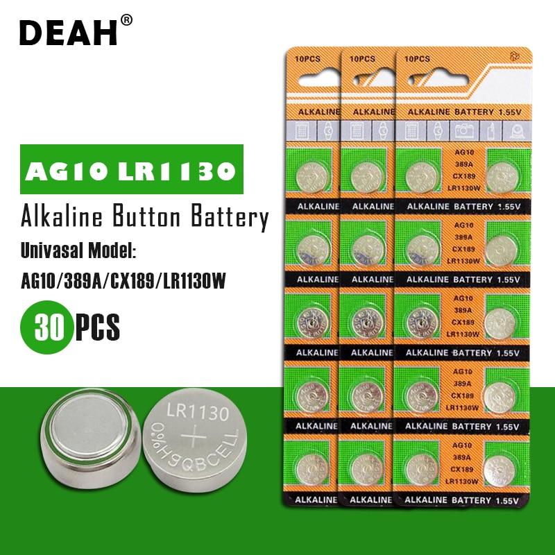 DEAH 30PCS 1,55 V AG10 LR1130 Alkaline Zell Münze Batterie AG 10 SR54 189 389 SR1130 L1131 G10A Taste batterien Für Uhren Spielzeug