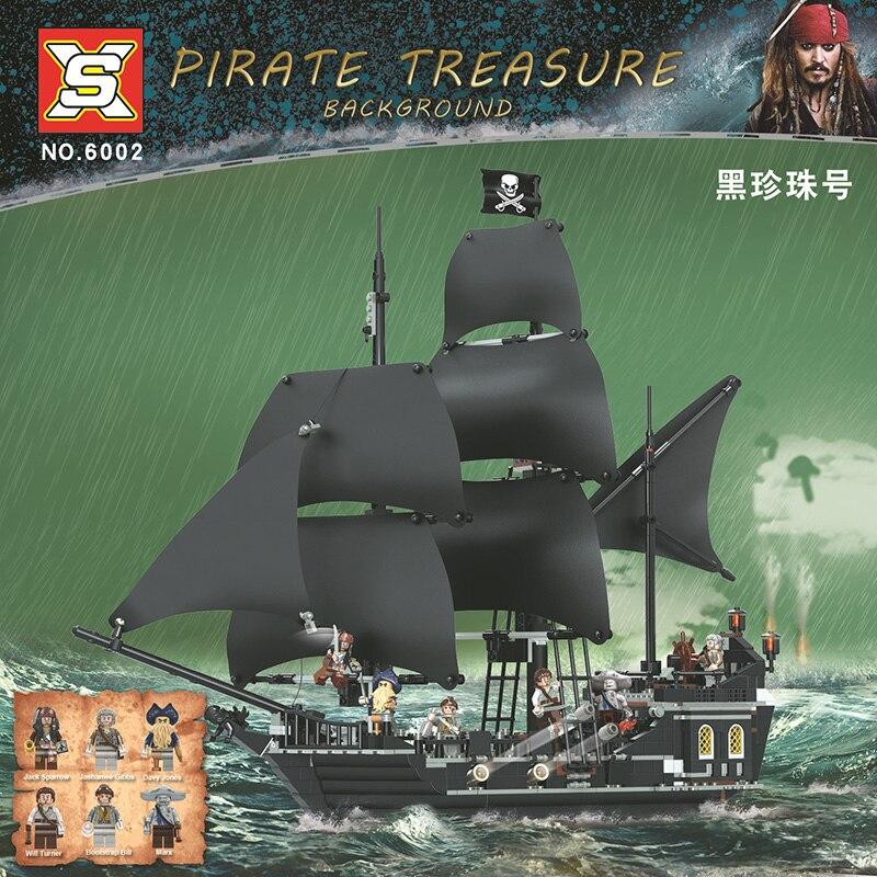 SX-6002 Barco Pirata caribeño la Perla Negra bloques de construcción compatibles 4184 juguetes educativos regalo de Navidad en STOCK