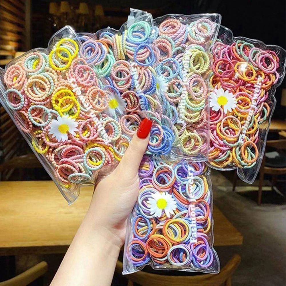 1pc colorful little girl hair rope ribbon bows elastic hair rubber bands kids ponytail holder children hair accessories ties gum 100PCS/Bag Colorful Children Hair Ties Elastic Hair Rope Ponytail Holder Rubber Scrunchies Baby Kids Hair Accessories