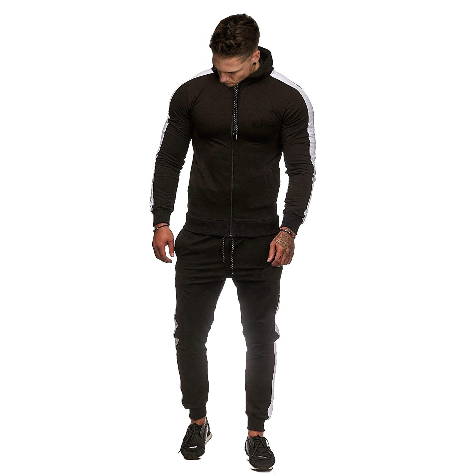 Mens Autumn Male pullover Splicing Zipper Print Sweatshirt Top Pants Trousers Sets Sport Suit Tracksuit Спортивный Костюм