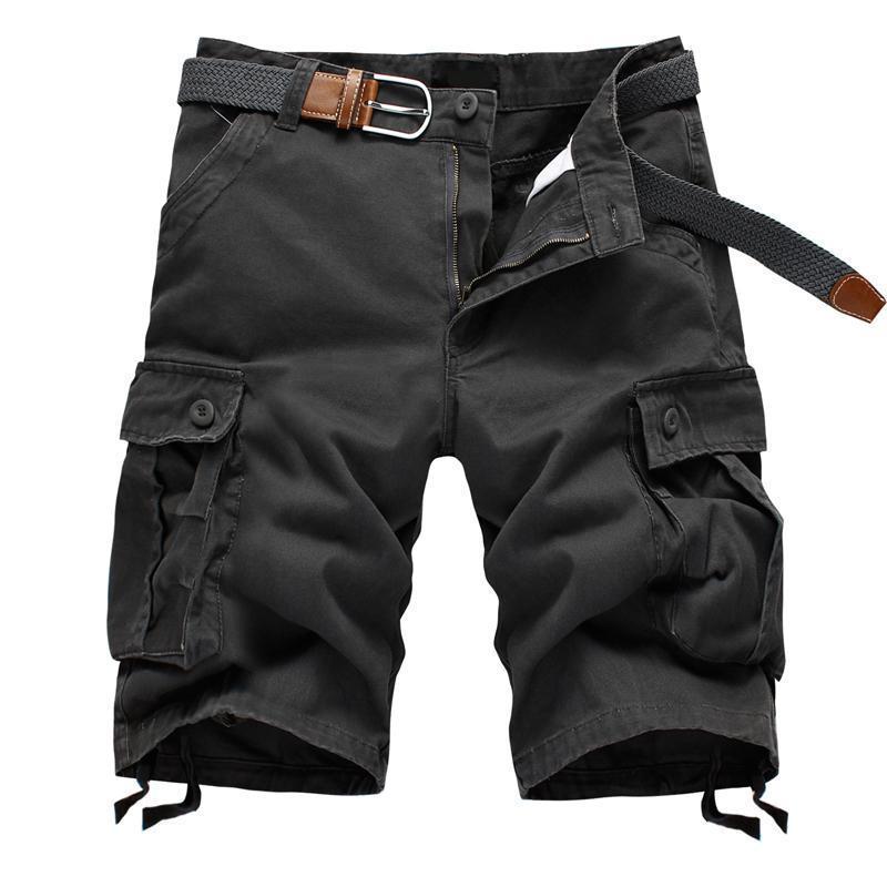 Thin summer shorts wear-resistant multi-pocket casual sports pants men's loose straight  fashion men's cargo pants knee length