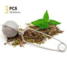 Infuseur à thé en acier inoxydable   3 pièces, filtre à mailles en acier inoxydable, passoire diffuseur de boules de thé, filtre à infuseur avec poignée, accessoires de thé à base dherbes noires