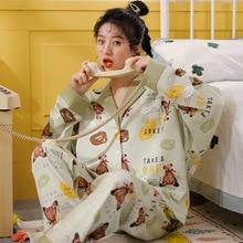 Mignon dessin animé modèle vêtements de nuit doux maison vêtements col pyjamas costume Cardigan femmes coton pyjamas automne pijamas mujer XXXL