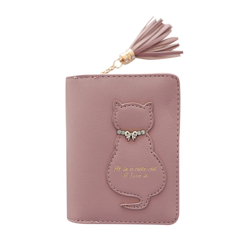 Women Cat Tassel Clutches Wallet Handbag Cardbag Tote Ladies Purse Cute Girl Cartoon Purse Fashion W