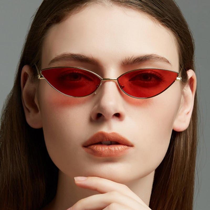2021 Fashion Cute Sexy Cat Eye Sunglasses Women Retro Small Black Red Pink Cateye Sun Glasses Female