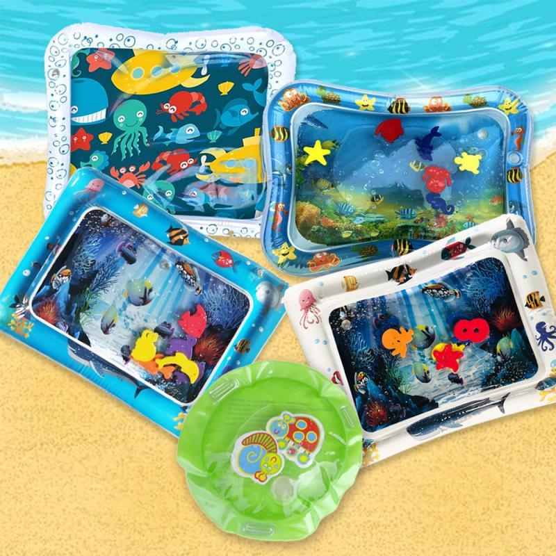 Colchoneta inflable para jugar en el agua para niños pequeños, colchoneta divertida para el tiempo en el abdomen, actividad, Lleno de agua, colchoneta para jugar, cojín divertido para niños