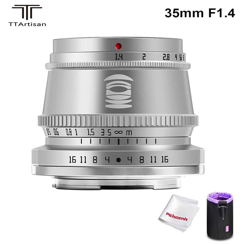 TTArtisan 35mm F1.4 APS-C Manual Focus Fixed Lens for Sony E Mount / Fujifilm M4/3 Mount Cameras A9 A7III A6600 A6400 X-E1 X-E2