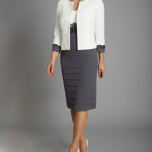 With Jacket Mother Of The Bride Dresses Sheath Knee Length Appliques Plus Size Short Groom Mother Dr