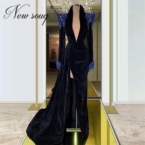 Turkish 2020 Feathers Black Evening Dresses Velvet Dubai Long Prom Dress Middle East Split Slit Beaded Celebrity Party Gowns