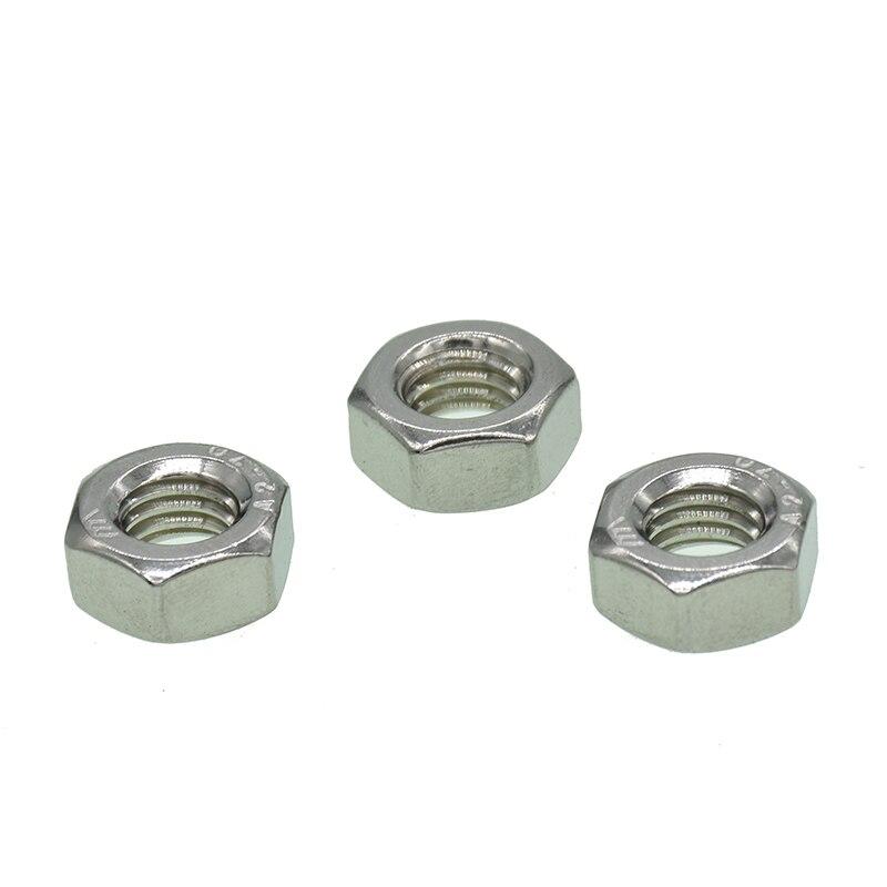 Купить с кэшбэком 100pcs/lot Metric thread DIN934 M1.6 M2 M2.5 M3 M3.5 M4 M5 304 Stainless Steel Hex Nuts