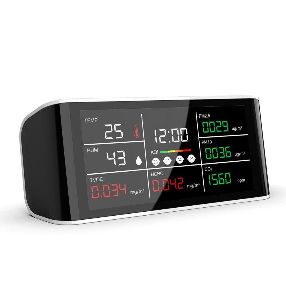 Analisador de Qualidade do ar Qualidade do ar Medidor 10 Hcho Tovc Temperatura Umidade Infravermelho Ndir Detector Portátil Analisador Dm69 Co2 Pm2.5 –