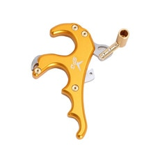 야외 4 손가락 활 릴리스 캘리퍼스 엄지 트리거 그립 복합 활 사냥 양궁 보조 사냥 슈팅 액세서리