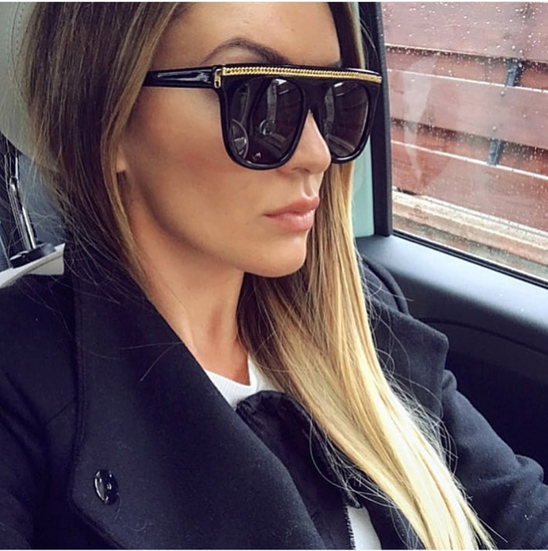 Feshini 2020 Italia marca de lujo de gran tamaño cuadrado gafas de sol de las mujeres UV400 Retro cadena gafas de sol para mujer de moda gran gafas