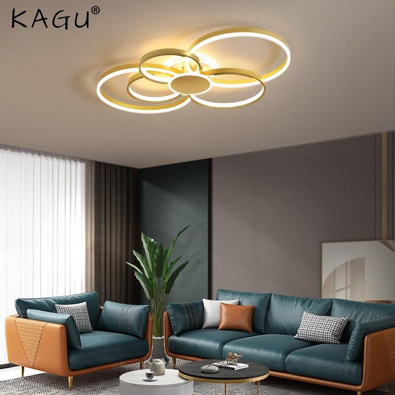 Золотой коричневый современный светодиодный люстры для гостиной спальни с регулируемой яркостью ламп гостиной фойе люстры Lampadario подвесно...