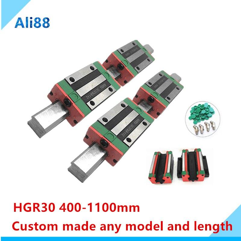 دليل السكك الحديدية الخطية HGR30 HGH30 4 قطعة HGH30CA ، كتلة منزلقة خطية ضيقة/حافة ، أجزاء HGW30CC cnc ، 2 قطعة