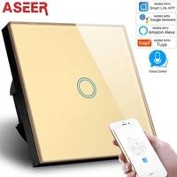 ASEER     interrupteur WIFI 220V  1 bouton  pour maison intelligente  panneau en verre cristal or  pour application de telephone  Compatible avec Alexa et Google Assistant
