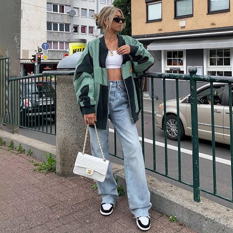 Pantalones de pierna ancha de talle medio de high street, pantalones casuales de estilo punk para mujer, pantalones sueltos de otoño, pantalones retro para mujer