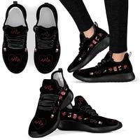 forudesigns fashion women sneaker nurse heart beat print pattern breathable knit female casual walking flat shoes scarpe donna