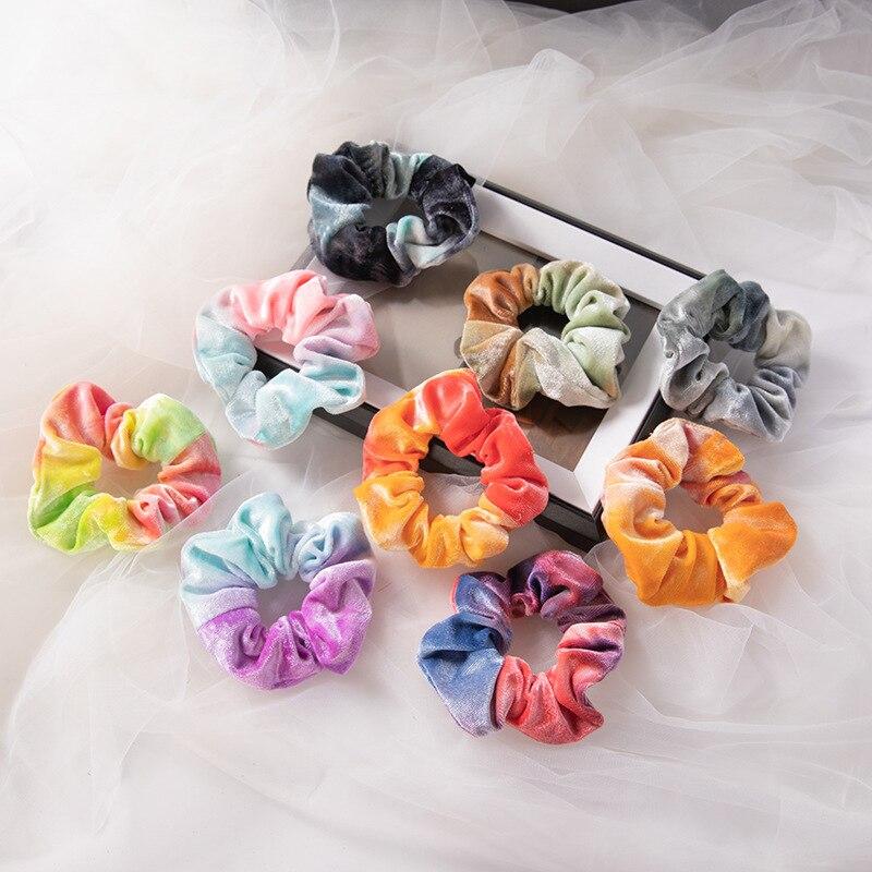 Новый цветной галстук из мягкой ткани-краситель, бархатные резинки, Радужное кольцо для волос, резинка для волос, эластичные резинки для вол...