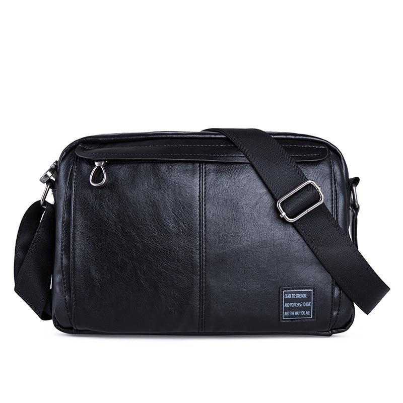 Men's Bag 2021 New PU Leather Solid Color Shoulder Men's Bag Horizontal Section Casual Messenger Bag Zipper Men's Bag