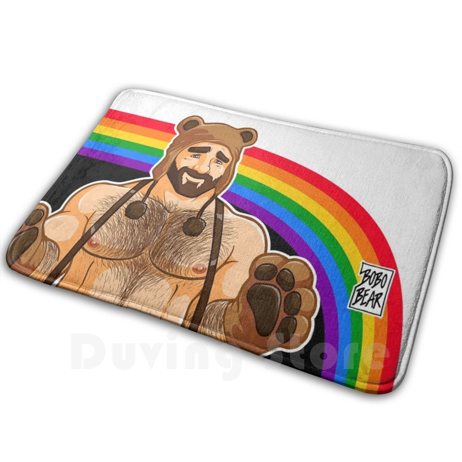 Adam Likes Hugs - Gay Pride Soft Non-Slip Mat Rug Carpet Cushion Bobobear Bobobearart Bobo Bear Bear Bear Week Bear