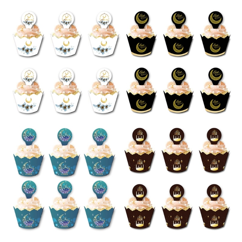 12 pçs/set eid mubarak cupcake toppers copos de bolo embalagens ramadan festival muçulmano islâmico festa decoração