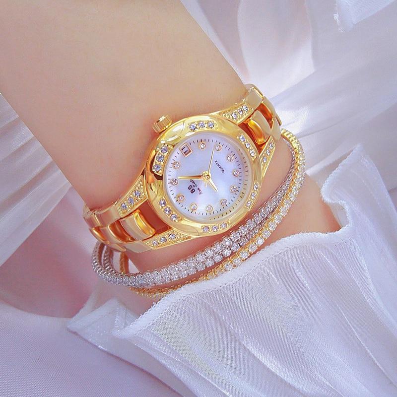 Reloj Mujer Роскошные женские золотые часы 2021 Новый маленький циферблат со стразами, кварцевые часы Famale, водонепроницаемые, с бриллиантами, дроп...