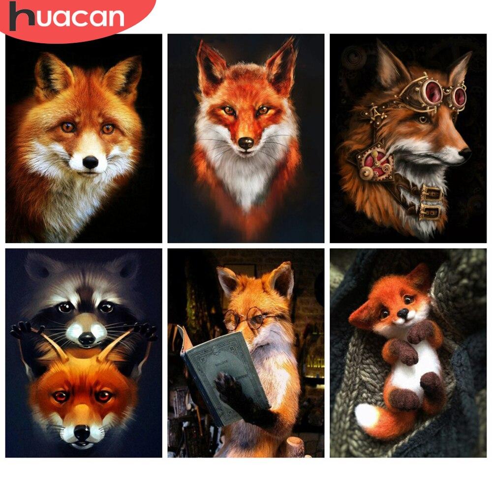 HUACAN 5D diamant peinture renard artisanat Kit complet carré rond vente diamant broderie Animal photo de strass décor pour la maison