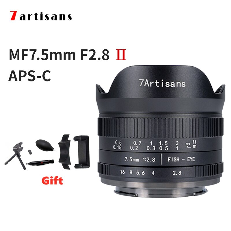 AliExpress - 7 Artisans 7.5mm F2.8 II APS-C Ultra-Wide-Angle Fisheye Camera Lens a6000 Sony E Mount Nikon Z Mount Fuji XF Macro 4/3 Mount