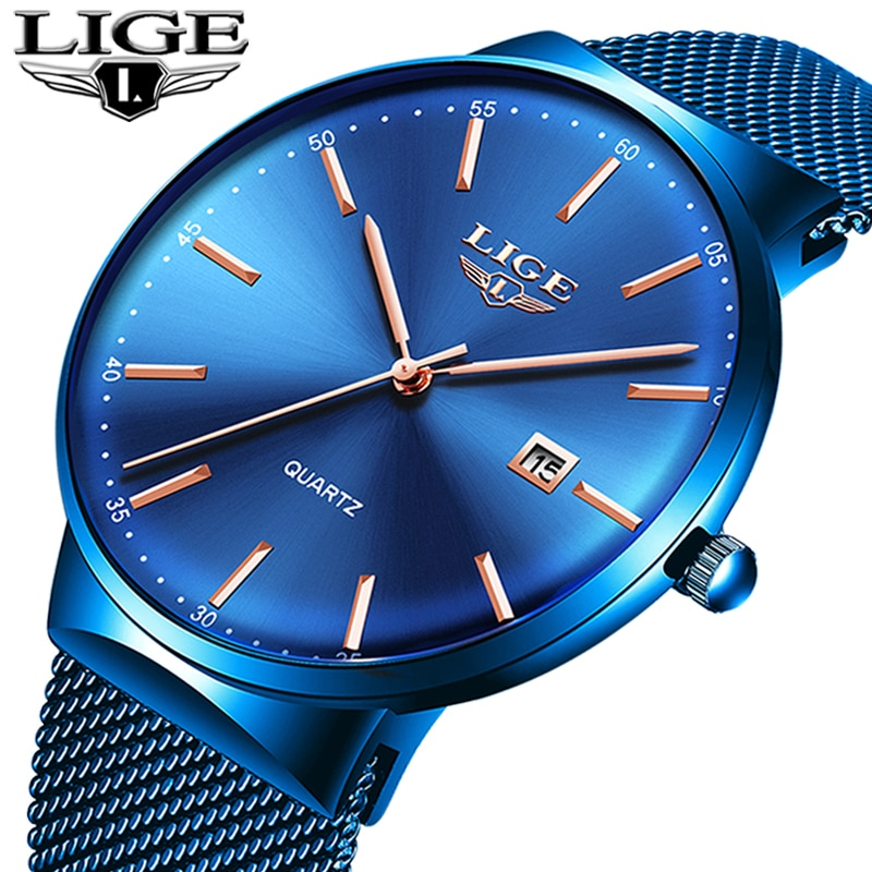 LIGE Fashion Luxury Womens Watch Ultra-thin Steel Mesh Strap Quartz Wristwatch Women Clock Casual Waterproof Watches reloj mujer enlarge