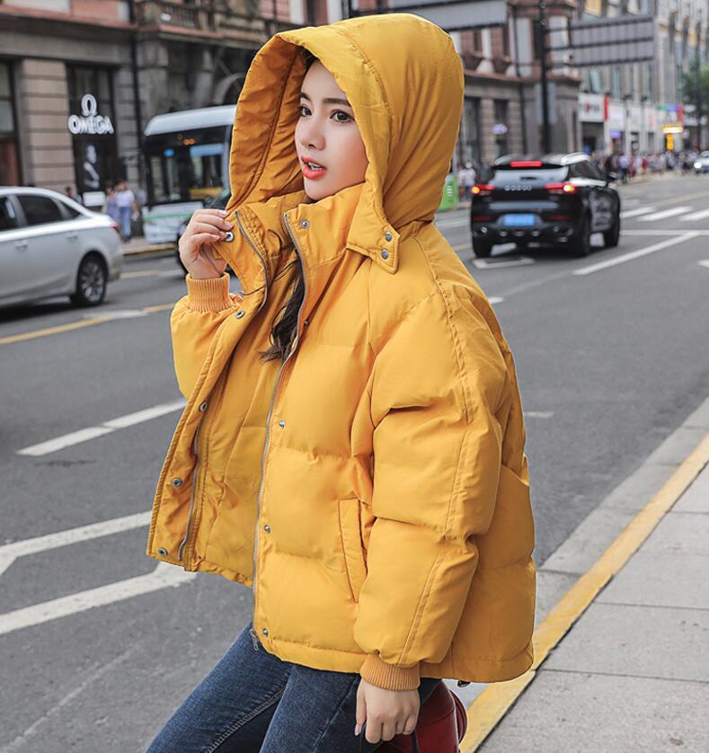 Casaco feminino com capuz, jaqueta parca sobretudo solto à prova de vento