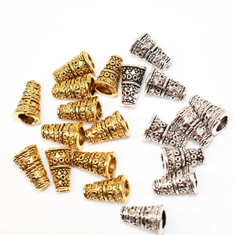 Venta al por mayor 50 Uds 10mm tapas de cuentas cónicas Color plateado extremo cónico separador topes para cuentas colgantes para joyería ajuste DIY