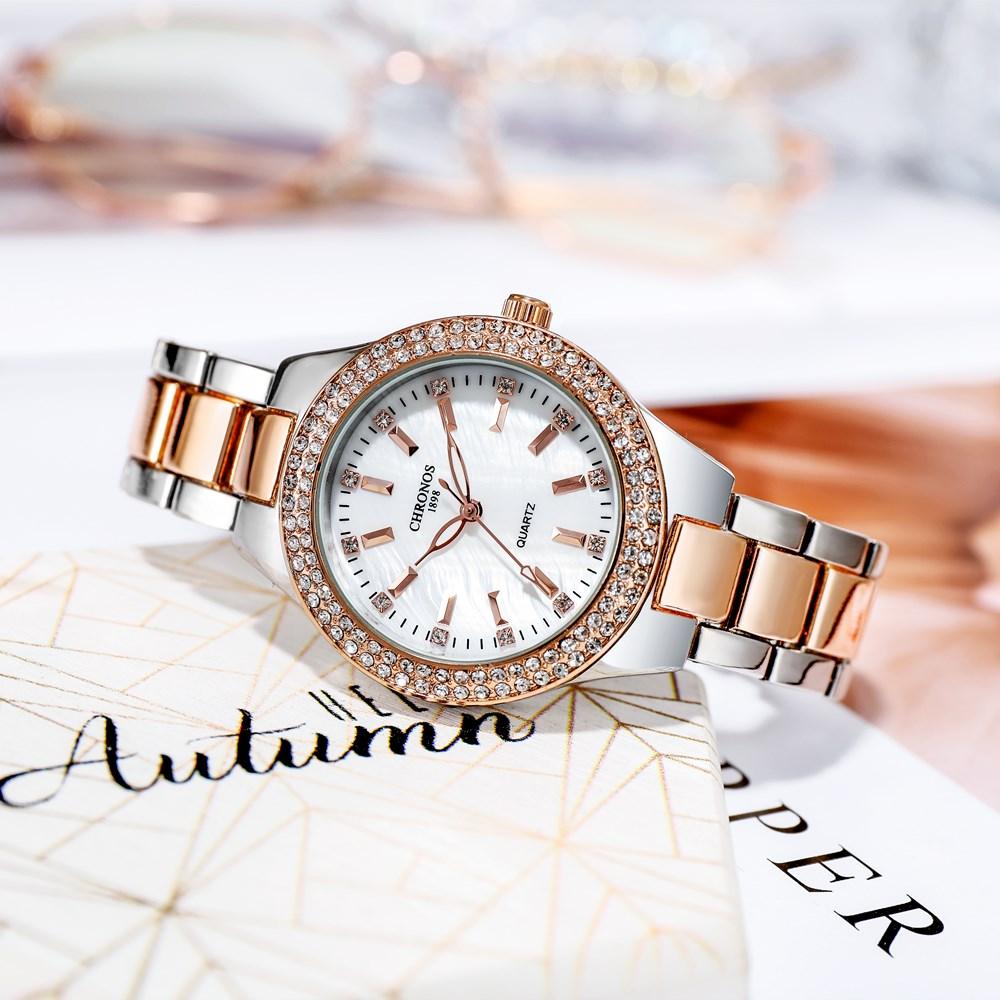 CHRONOS Women Watch Rhinestones Simple Hardlex Dial Stainless Steel Band Luxury Ladies Fashion Wristwatch CH36 enlarge