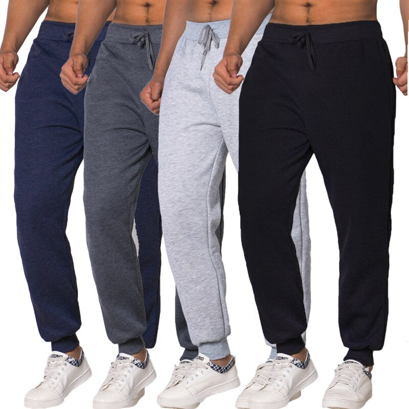 Autumn Casual Elastic Waist Male Trousers Joggers Sweatpants Solid Color Black Gym Fitness Workout Running Long Pants
