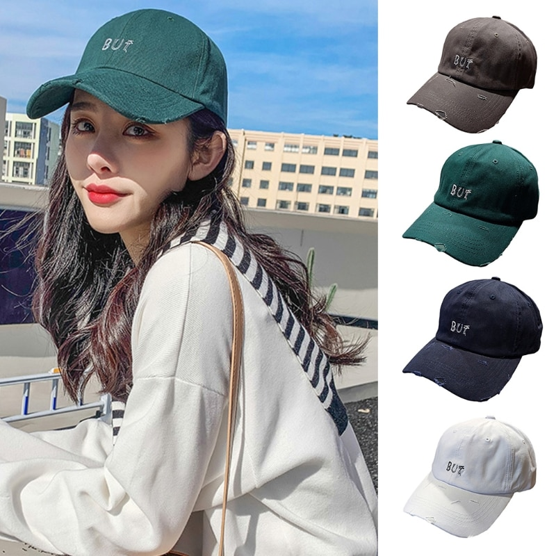 Unisex Letter Embroidery Baseball Cap Vintage Distressed Adjustable Trucker Hat R2LE  - buy with discount