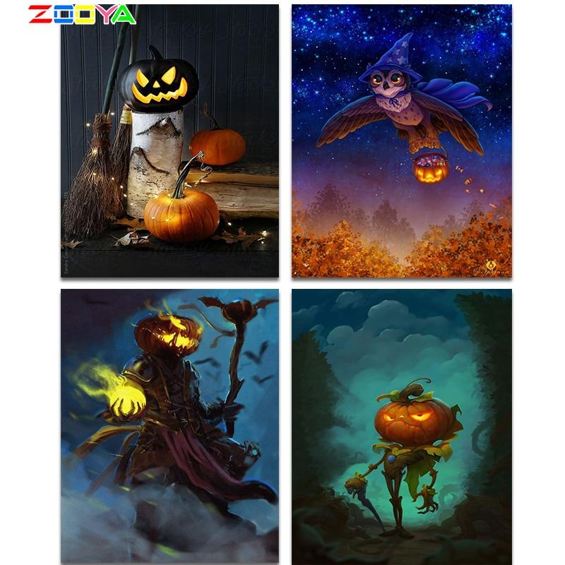 ZOOYA 5D diamond painting Halloween gift pumpkin knight diamond embroidery mosaic puzzle animal owl Diy home decoration new sale