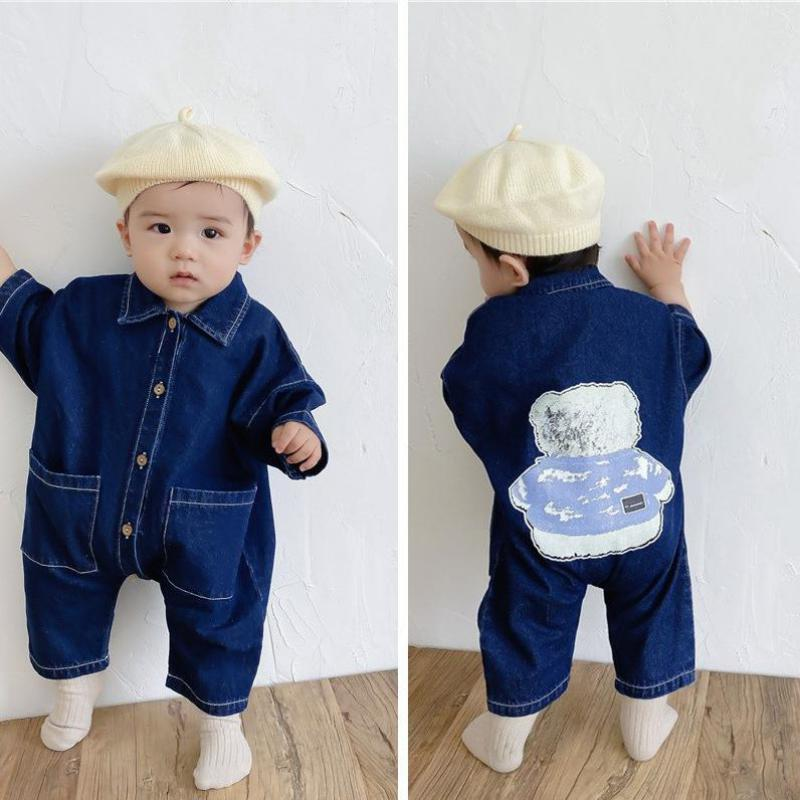 Fashion New Back Cartoon Print Baby Denim Romper 2021 Autumn Long Sleeve Cute Bear Kids Jumpsuit Tod